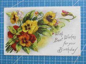 {会山书院}36#欧洲1910年左右(鲜花束)凸版、手写明信片-问候祝福-收藏集邮-复古手账