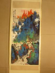 刘海粟,立轴纸本,溪山秋霭,品相如图