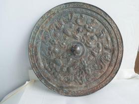 老铜镜,直径22.5厘米,重1150克