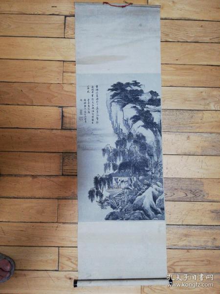 五十年代絲織錦畫山水詩詞唐寅長100寬31厘米