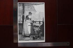 【現貨 包郵】1890年小幅木刻版畫《年輕的生活》(junges leben)尺寸如圖所示(貨號400668)