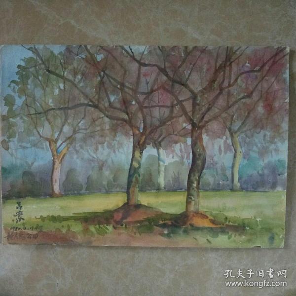 著名畫家(呂蒙)早期風景寫生水彩畫