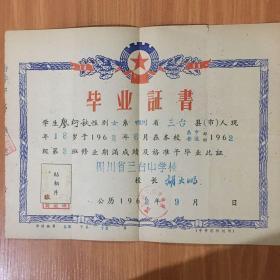 60年代畢業證書