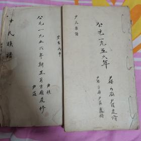 尹氏族谱两卷 尹庄、方庙、尹楼
