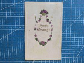 {会山书院}36#欧洲1910年左右(花卉图)凸版、贴邮票实寄手写明信片-假日祝福-收藏集邮-复古手账