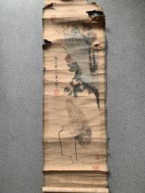 清代原装裱仿新罗山人笔意花鸟图(文革抄家物品)