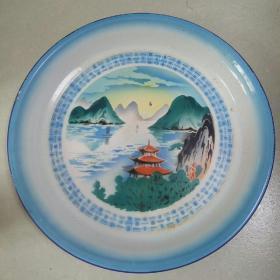 山水画面搪瓷盘