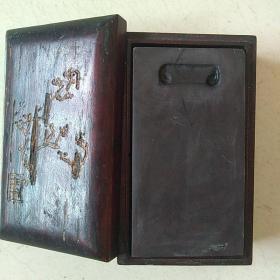端砚 砚板 木盒