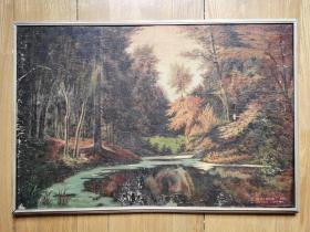 80年代  油画 原著 德国《静静的森林》上海胡树堂 摹绘。