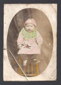民国老照片,手工上色儿童照,品弱