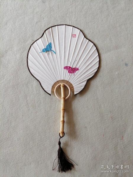手繪工筆蝴蝶宮扇