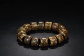舊藏 老沉香雕素面手串,珠徑1.6cm珠長1.3cm重26克