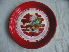 雙喜字搪瓷盤子