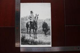【現貨 包郵】1890年小幅木刻版畫《主拉凱》(der herr lakai)尺寸如圖所示(貨號400667)