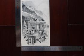 【現貨 包郵】1890年小幅木刻版畫《高山小屋-維斯巴赫》(die schwarzenberghütte am wiesbach)尺寸如圖所示(貨號400669)