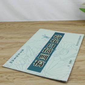 荷花白描画稿()美术教学示范作品国画花鸟画工笔线描底稿临摹技法入门零基础初学者教程