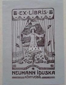 匈牙利早期线刻版藏书票舞台上女子