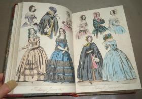 1843年 Monthly Belle Assemblee 英国著名家庭时尚《美女汇画刊》3册合订 极珍贵初版本 3/4小牛皮装祯古董书 大量精美原品手工上色版画插图