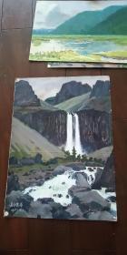老油画【长白瀑布】1975年
