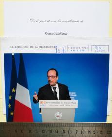 法国前总统、安道尔大公、国家元首(2012-2017)、社会党任期最长的第一书记(1997-2008)、科雷兹省议会主席(2008-2012)、蒂勒市市长(2001-2008)、密特朗总统最年轻的经济顾问、国民议会前议员、弗朗索瓦·奥朗德(François Hollande)、亲笔签名、照片1张(非常珍贵、罕见)
