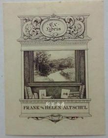 美国雕刻钢版画藏书票书与油画黄金时期书票五大家之一斯潘塞利