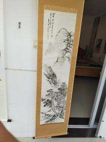 解放前后  老山水画立轴  作者不识  原装旧裱 尺寸136x34
