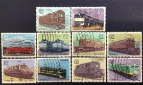 日本邮票信销·樱花目录编号 C1269-1278 1990年电力机车··火车邮票全套10枚合售(使用过的信销票)