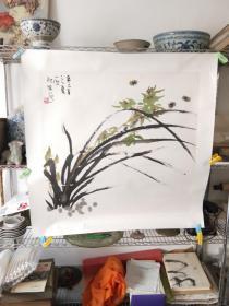 """著名画家刘一原""""兰花蜜蜂图"""""""