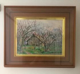 日本油画 日本昭和时期著名画家西村正次 1977年精品油画,杏花开时,日本原装镜框,可直接上墙,收藏装饰礼品俱佳