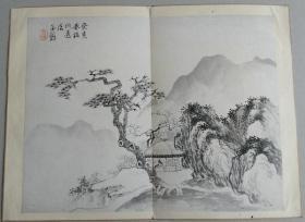 日本回流民国老画抚清代画家何远山水册页一开金?款不识老裱022
