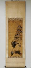 佚名清代绢本水墨精品《孔雀竹石图》