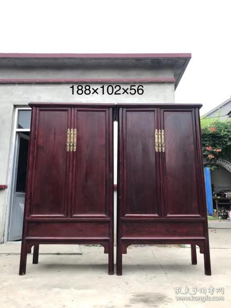明式家具·圓角柜一對 核桃楸木,極品山水紋尺寸188×102×56適用書房、茶室、收藏、明清古典家具