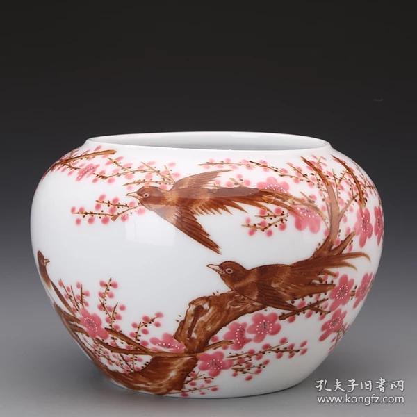 紅色官窯中南海懷仁堂7501瓷器毛瓷內畫暗刻毛主席頭像詩文水洗汁