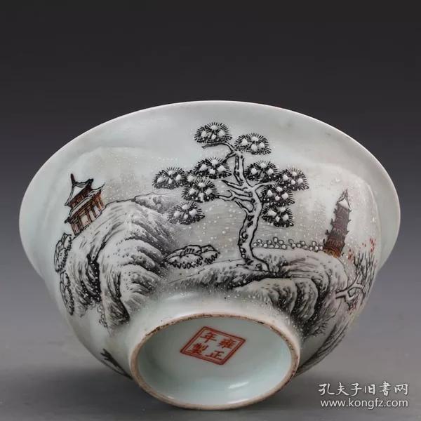 清雍正粉彩雪景山水碗