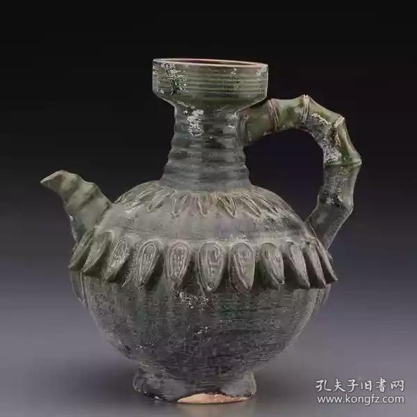 唐三彩漢綠釉貼塑蓮花壺