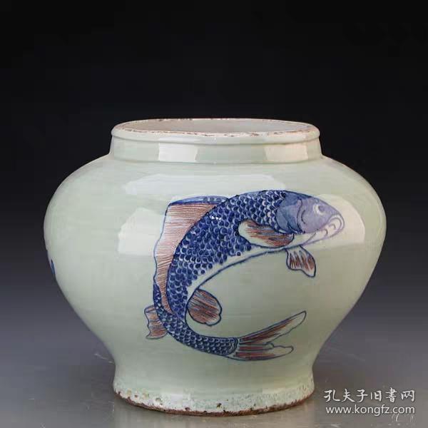 清民窯豆青釉青花釉里紅魚紋罐