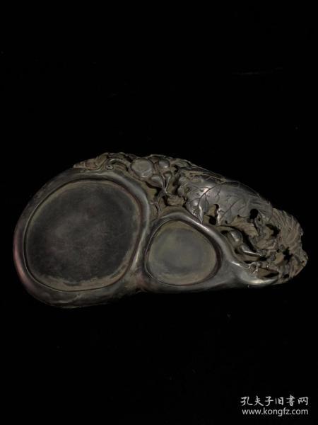 端硯,鏤空雕刻葫蘆寓意福祿,招財致富
