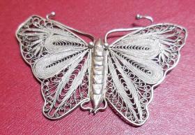 老古董纯银 精美掐丝蝴蝶状女士胸针佩件 民国期老银器保真品 胸戴饰品