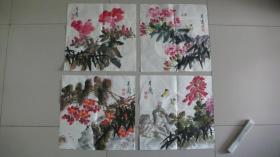 兰州画家陈月兰花卉小品 4 幅软片