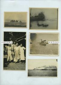 民国时期菲律宾马尼拉船景,当地女子和骑马等老照片五张
