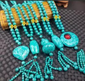 绿松石饰品玉石平安项链8毫米圆珠周长约60厘米共计5款,买之前联系客服,以免发货错误。