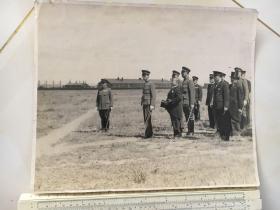 民国抗战时期原版老照片:溥仪、伪满洲国总理张景惠老照片,29厘米大照片
