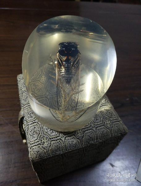 九十年代人造琥珀橢圓形(一鳴驚人)鎮紙工藝品(原品原盒)