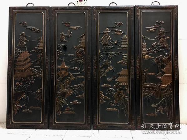 老木胎漆繪四時同慶四條屏掛屏一套 文玩老木雕配飾古玩舊藏