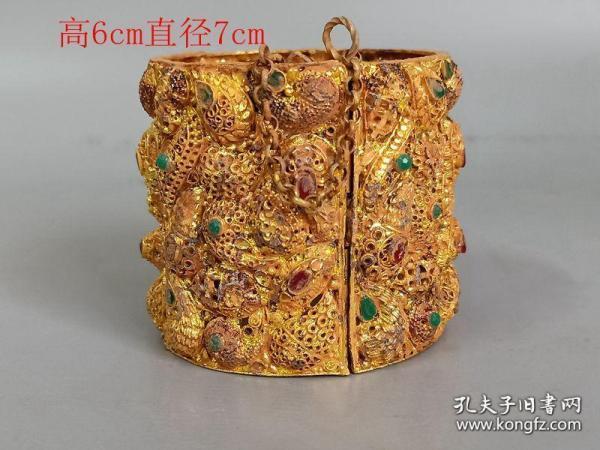 鄉下收的清代金絲鑲嵌寶石手鐲41