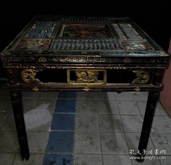民間舊藏《八方來財》算盤漆桌