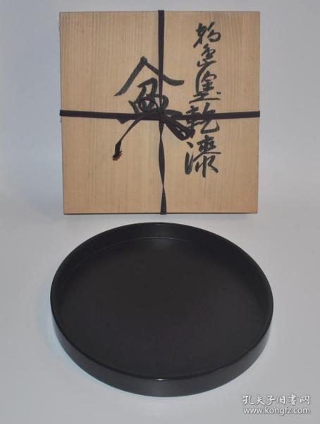 ▲日本輪島涂黑漆制木胎圓形老漆盤 茶盤盞托盤壺承回流老漆器茶具