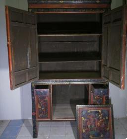 民間舊藏 漆器柜子(上下可分開)