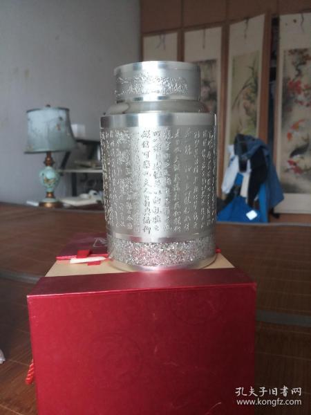 個舊斑錫龍出品蘭亭集序斑錫茶葉罐
