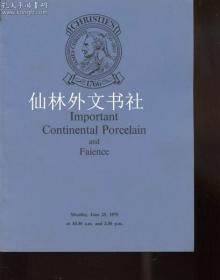 【包邮】Christies 1979 Important Continental Porcelain & Faience